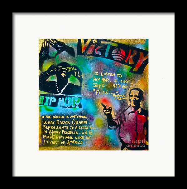 Barack Obama Framed Print featuring the painting Barack And Jay Z by Tony B Conscious