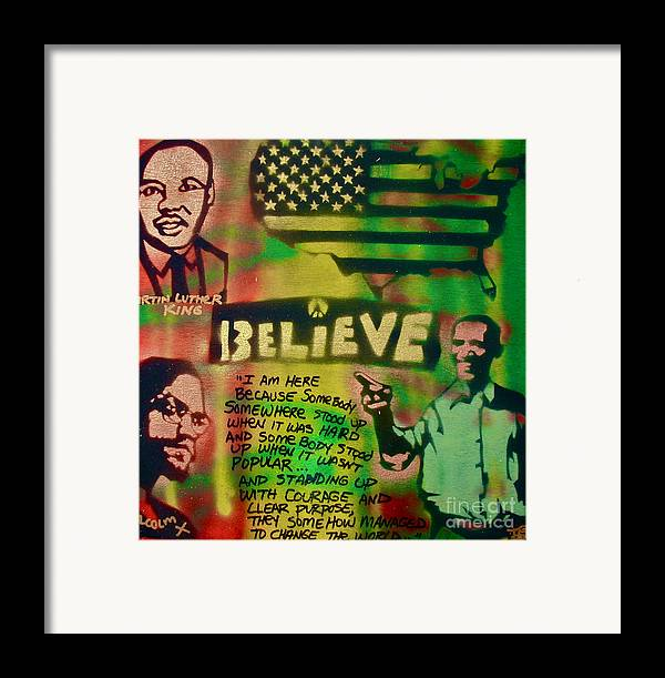 Barack Obama Framed Print featuring the painting Barack And Martin And Malcolm by Tony B Conscious
