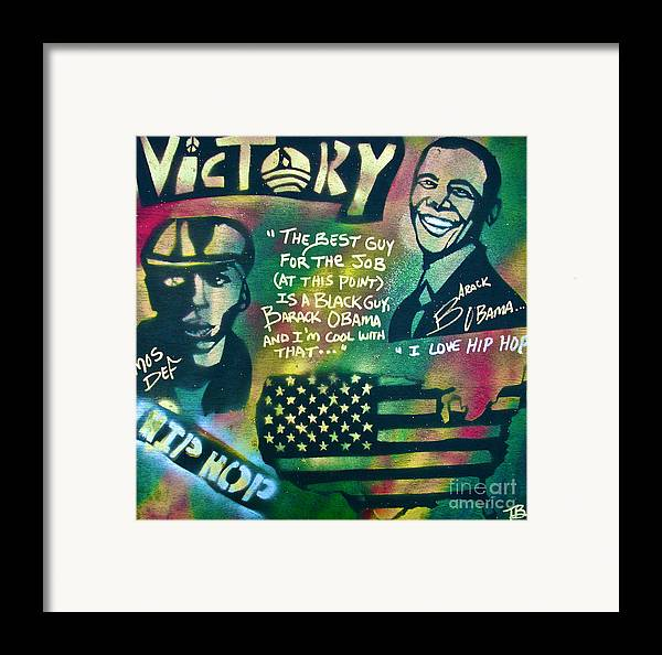 Barack Obama Framed Print featuring the painting Barack And Mos Def by Tony B Conscious
