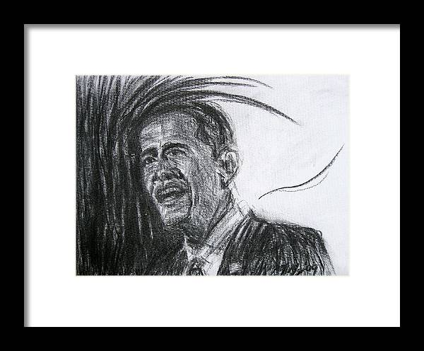 Barack Obama Framed Print featuring the drawing Barack Obama 1 by Michael Morgan