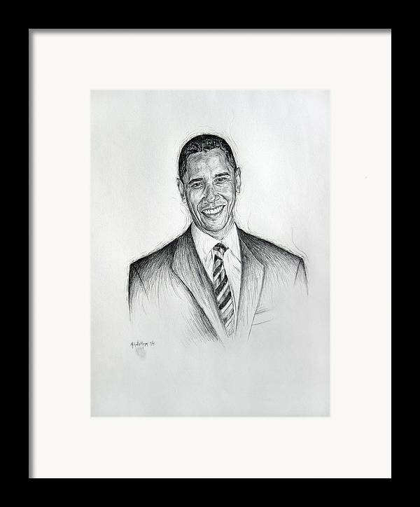 Barack Obama Framed Print featuring the drawing Barack Obama 2 by Michael Morgan
