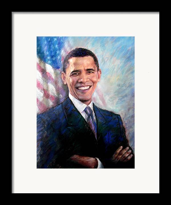 Barack Obama Framed Print featuring the drawing Barack Obama by Viola El