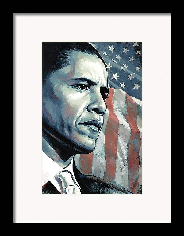 Barack Obama Paintings Framed Print featuring the painting Barack Obama Artwork 2 B by Sheraz A