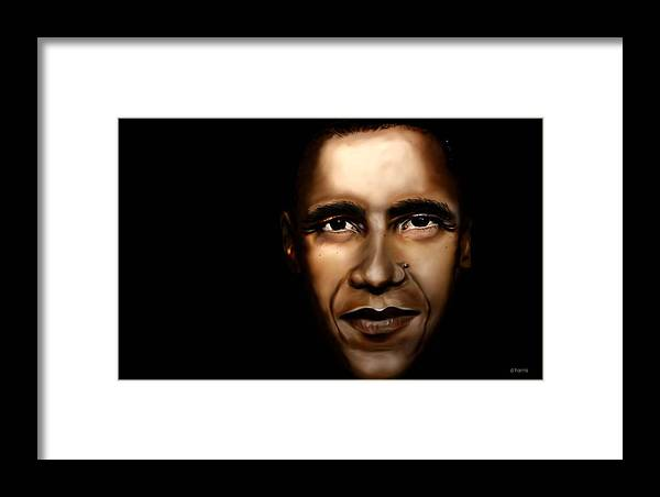 Digital Framed Print featuring the painting Barack Obama - New Day by Anthony Anthony ICONS