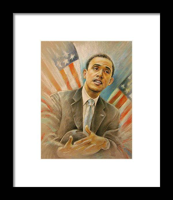 Barack Obama Portrait Framed Print featuring the painting Barack Obama Taking It Easy by Miki De Goodaboom