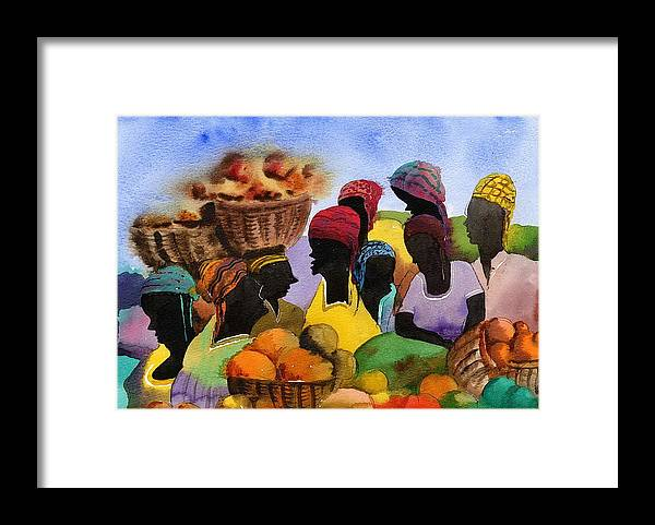 Val Byrne Framed Print featuring the painting Barbados Market 1 Wi by Val Byrne