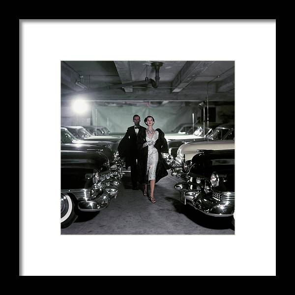 Fashion Framed Print featuring the photograph Barbara Mullen With Cars by John Rawlings