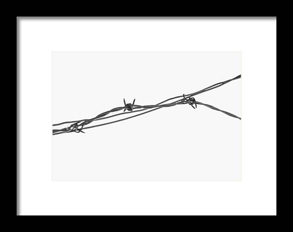 Abstract Framed Print featuring the photograph Barbed Wire by Fran Riley