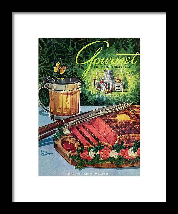 Food Framed Print featuring the photograph Barbeque Meat And A Mug Of Beer by Henry Stahlhut