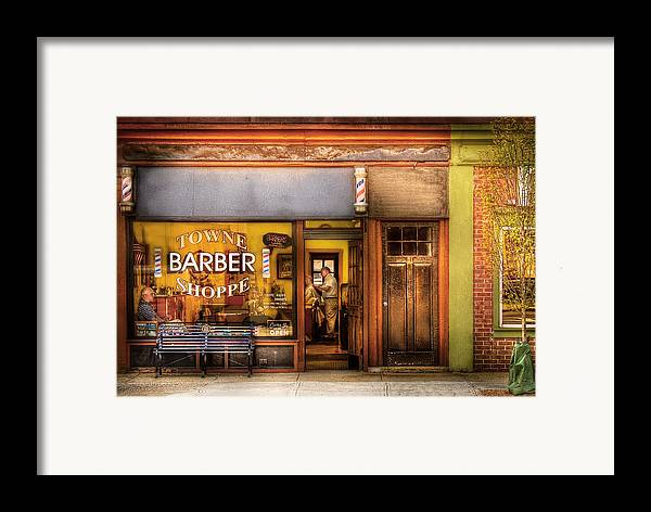 Hair Framed Print featuring the photograph Barber - Towne Barber Shop by Mike Savad