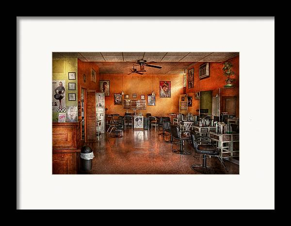 Barber Framed Print featuring the photograph Barber - Union Nj - The Modern Salon by Mike Savad