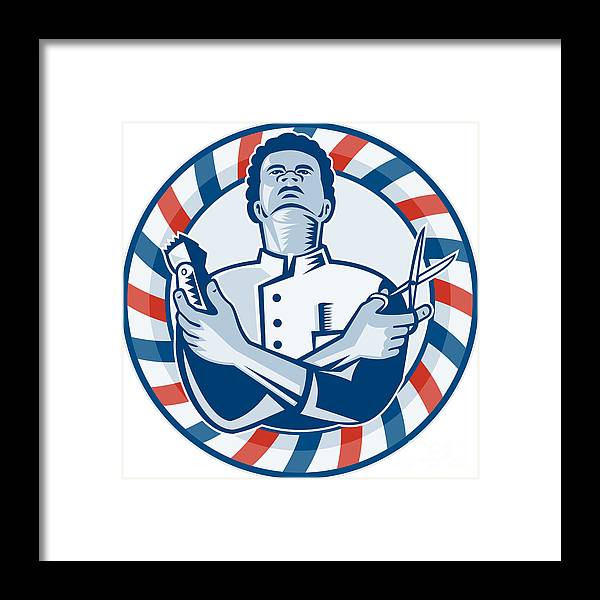 Barber Framed Print featuring the digital art Barber With Pole Hair Clipper And Scissors Retro by Aloysius Patrimonio