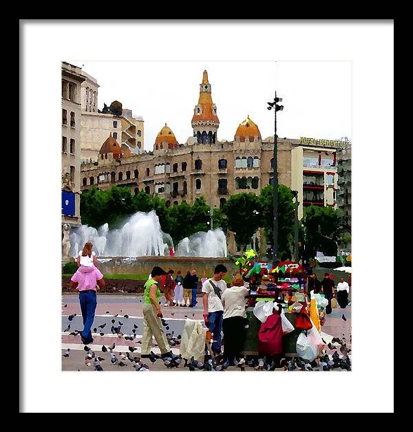 Barcelona Framed Print featuring the photograph Barcelona - Abstract - Plaza De Catalunia by Jacqueline M Lewis