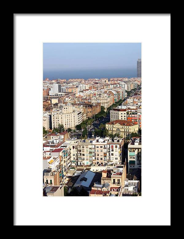 Barcelona Framed Print featuring the photograph Barcelona city by Sophie Vigneault