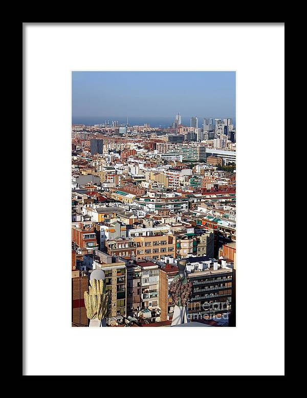 Barcelona Framed Print featuring the photograph Barcelona cityscape by Sophie Vigneault