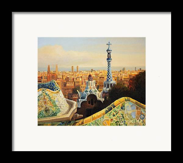 Antoni Gaudi Framed Print featuring the painting Barcelona Park Guell by Kiril Stanchev