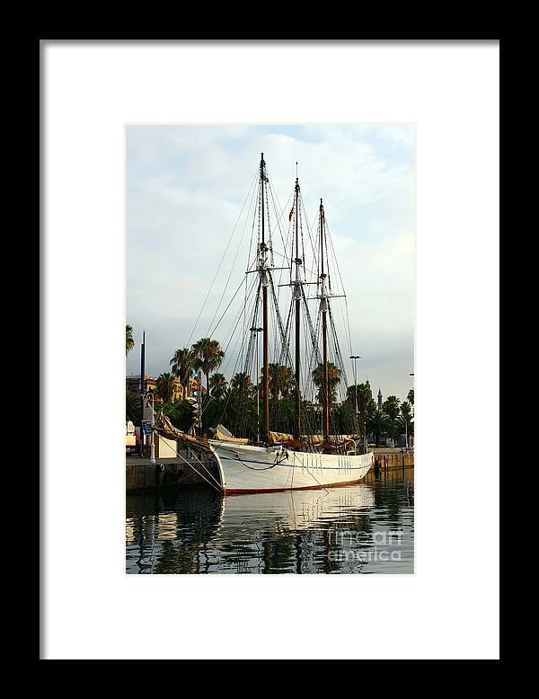 Navigation Framed Print featuring the photograph Barcelona port of call by Sophie Vigneault