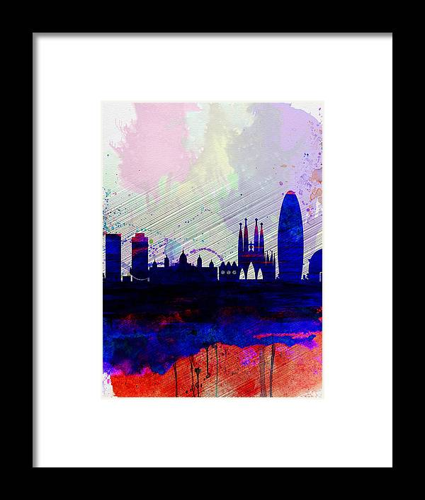 Barcelona Framed Print featuring the painting Barcelona Watercolor Skyline 2 by Naxart Studio
