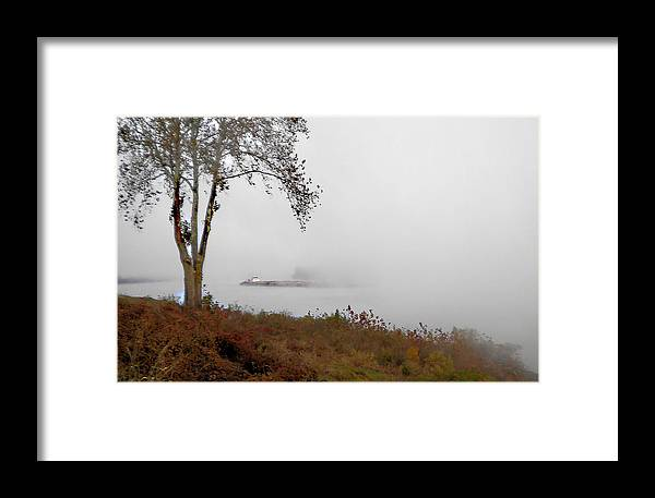 Barge Framed Print featuring the photograph Barge In Fog On Ohio River by R David Johnson