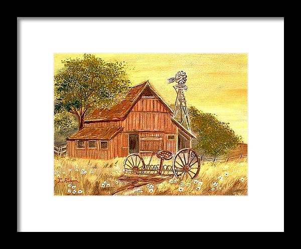 Barn Old Rake Windmill Framed Print featuring the painting Barn - Windmill - Old Rake by Kenneth LePoidevin