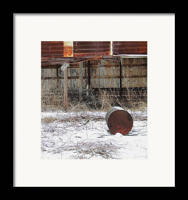 Old Barn And Rusted Barrel Framed Print featuring the photograph Barn #41 by Todd Sherlock