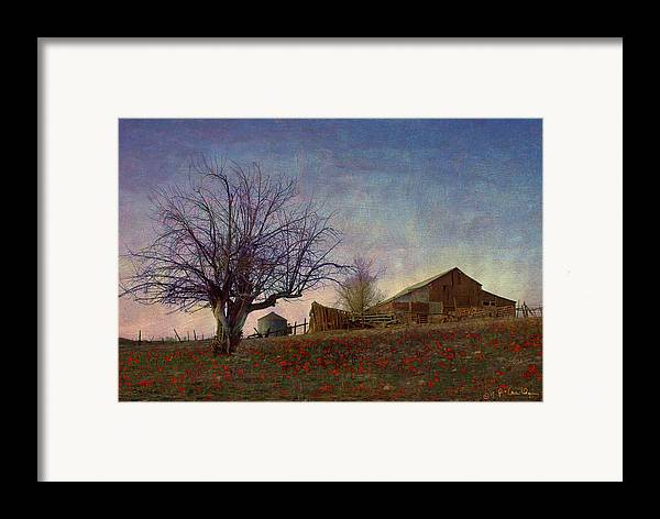 Barn Framed Print featuring the painting Barn On The Hill - Big Sky by R christopher Vest