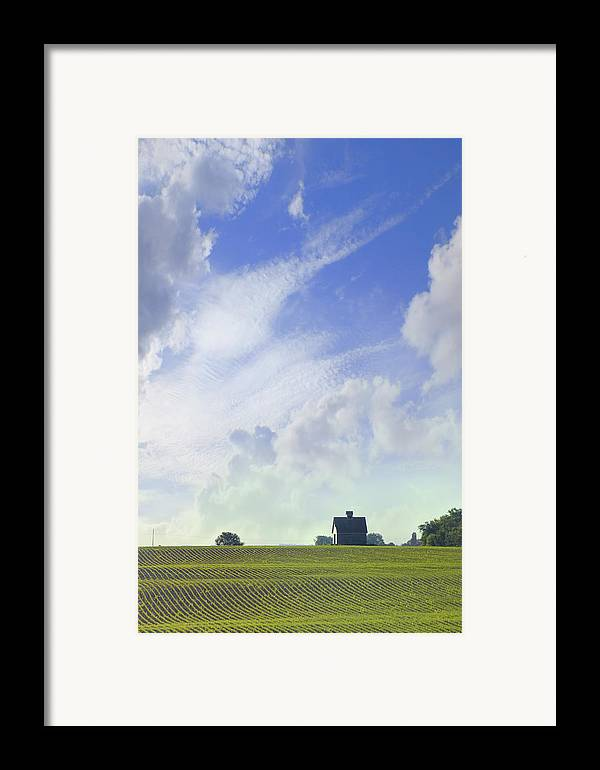 Farm & Barn Framed Print featuring the photograph Barn On Top Of The Hill by Mike McGlothlen