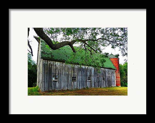 Old Barns Framed Print featuring the photograph Barn With Brick Silo by Julie Dant