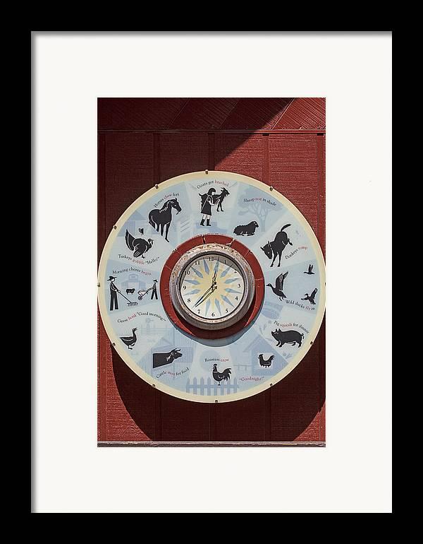 Barn Framed Print featuring the photograph Barn Yard Clock by Garry Gay