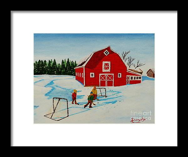 Hockey Framed Print featuring the painting Barn Yard Hockey by Anthony Dunphy