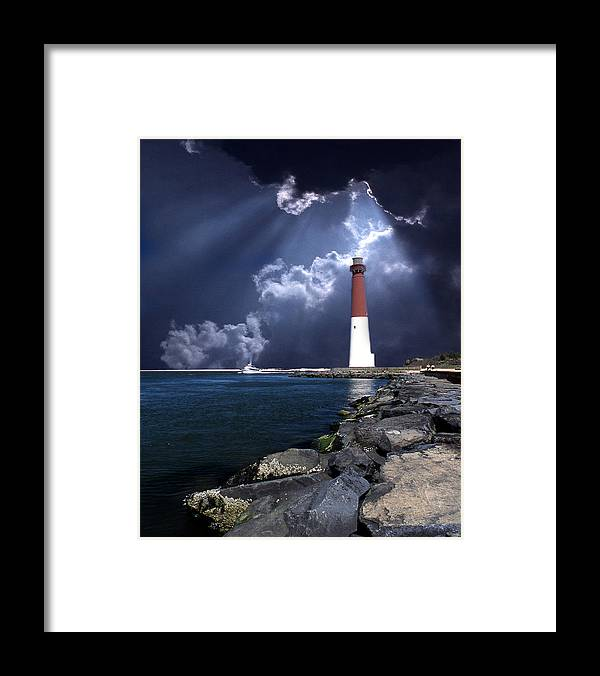 Lighthouse Framed Print featuring the photograph Barnegat Inlet Lighthouse Nj by Skip Willits