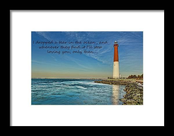 Barnegat Lighthouse Inspirational Quote Framed Print By Lee Dos Santos