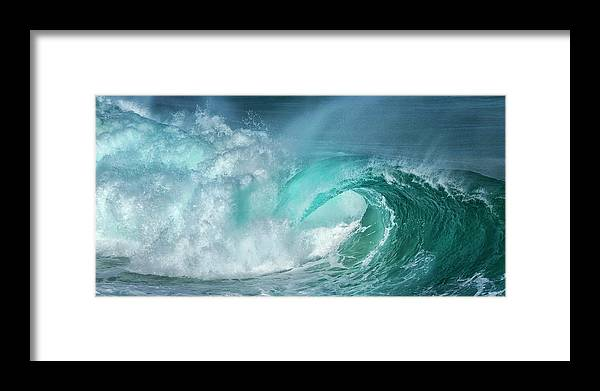 Panoramic Framed Print featuring the photograph Barrel In The Surf by Simon Phelps Photography