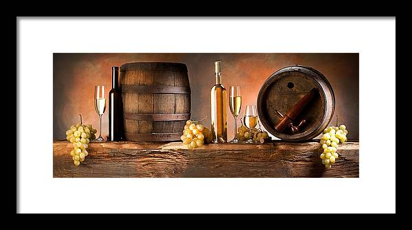 Cask Framed Print featuring the painting Barrels Grapes by Tian Chen