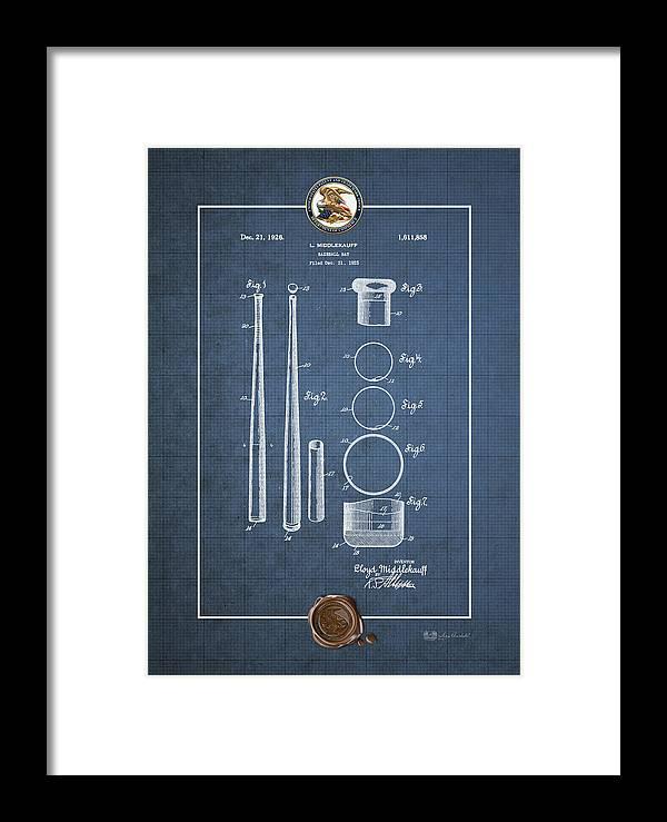 C7 Sports Patents And Blueprints Framed Print featuring the digital art Baseball Bat By Lloyd Middlekauff - Vintage Patent Blueprint by Serge Averbukh