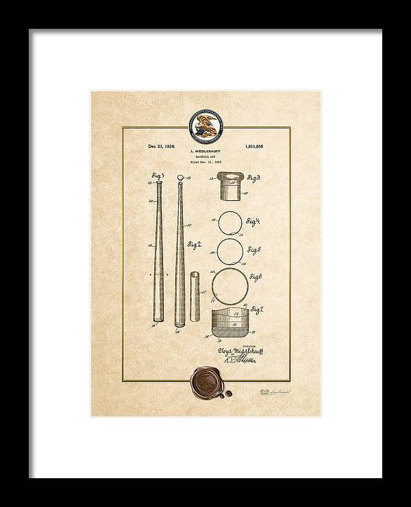 C7 Sports Patents And Blueprints Framed Print featuring the digital art Baseball Bat By Lloyd Middlekauff - Vintage Patent Document by Serge Averbukh