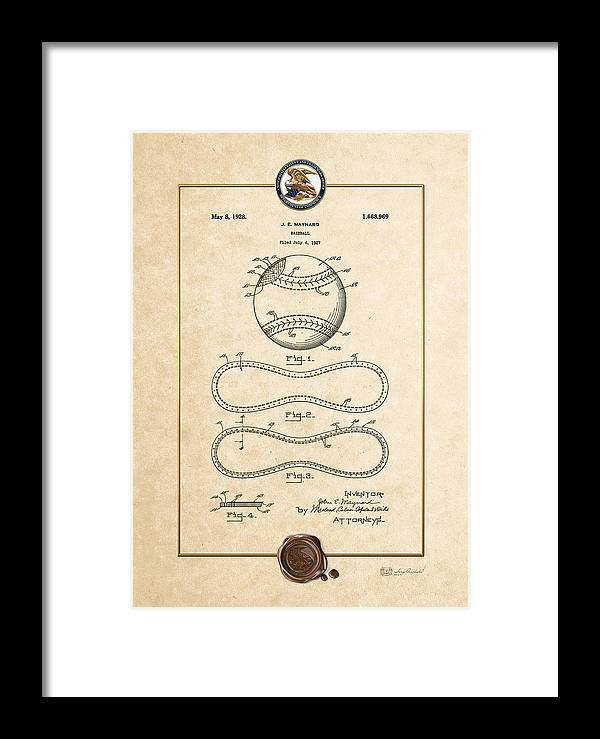 C7 Sports Patents And Blueprints Framed Print featuring the digital art Baseball By John E. Maynard - Vintage Patent Document by Serge Averbukh