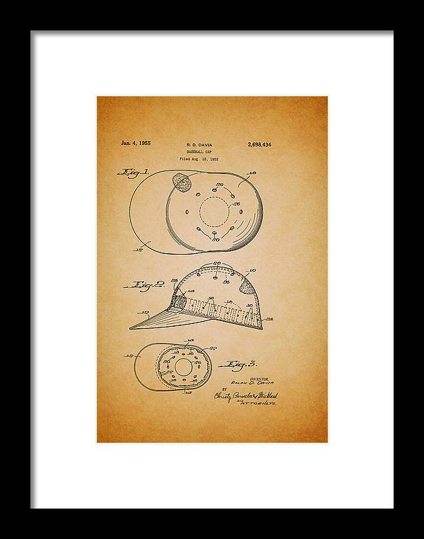 Patent Framed Print featuring the drawing Baseball Cap Patent 1955 by Mountain Dreams