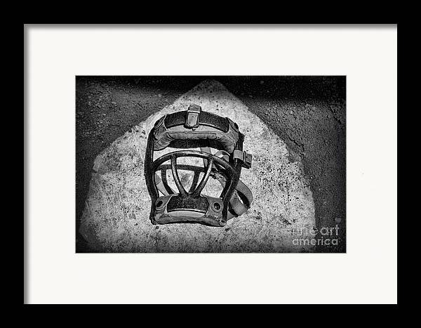 Paul Ward Framed Print featuring the photograph Baseball Catchers Mask Vintage In Black And White by Paul Ward