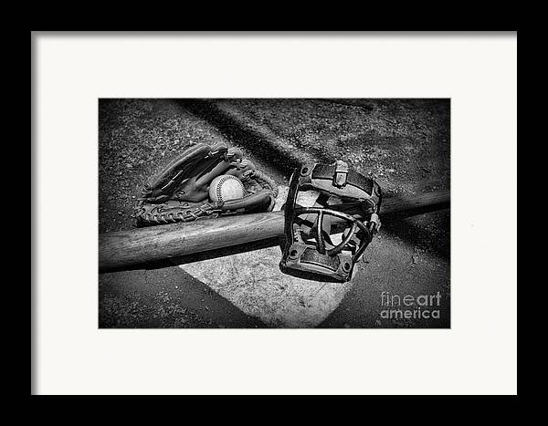 Paul Ward Framed Print featuring the photograph Baseball Play Ball In Black And White by Paul Ward