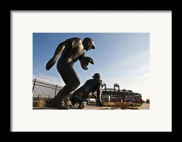 Baseball Statue At Citizens Bank Park Framed Print featuring the photograph Baseball Statue At Citizens Bank Park by Bill Cannon