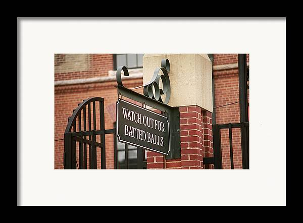 America Framed Print featuring the photograph Baseball Warning by Frank Romeo