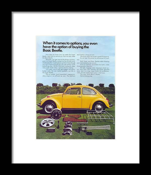 Yellow Beetle Framed Print featuring the digital art Basic Beetle by Georgia Fowler