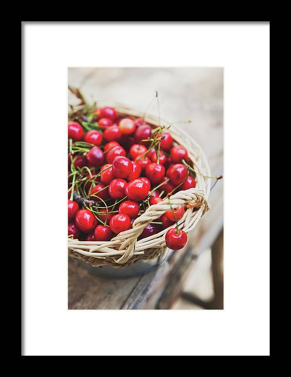 Cherry Framed Print featuring the photograph Basket Of Cherries by © Emoke Szabo