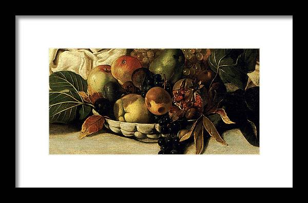 Caravaggio Framed Print featuring the painting Basket Of Fruit Detail Bacchus by Caravaggio