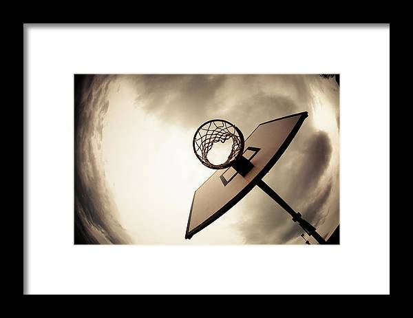 Goal Framed Print featuring the photograph Basketball Hoop, Dramatic Sky by Zodebala