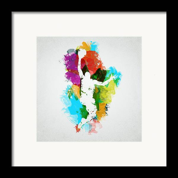 Abstract Framed Print featuring the digital art Basketball Player by Aged Pixel