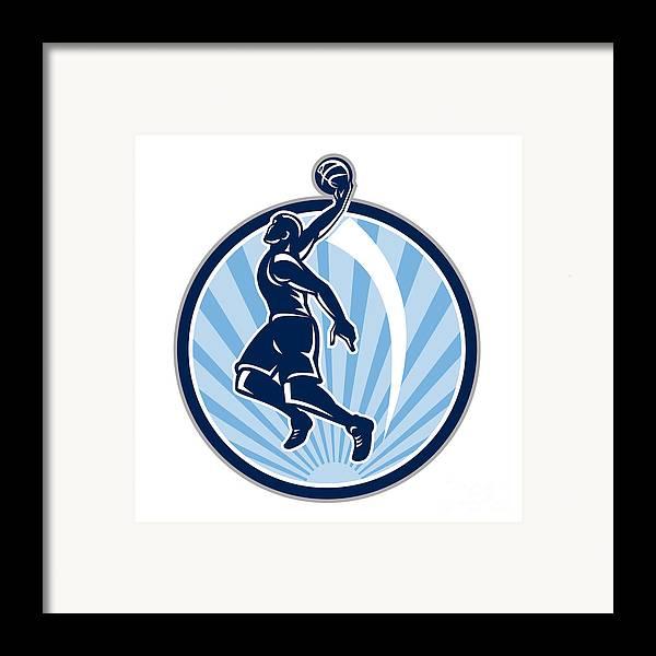 Basketball Framed Print featuring the digital art Basketball Player Dunk Ball Retro by Aloysius Patrimonio
