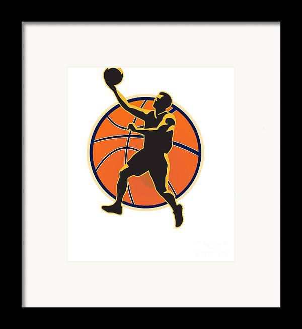 Basketball Framed Print featuring the digital art Basketball Player Lay Up Ball by Aloysius Patrimonio