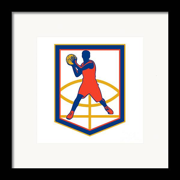 Basketball player passing ball shield retro framed print for Vintage basketball wall art